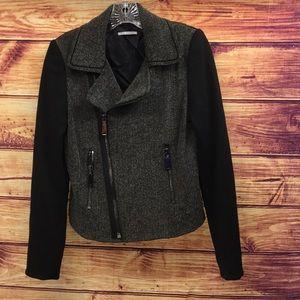T Tahari Black & Herringbone Knit Zip Moto Jacket